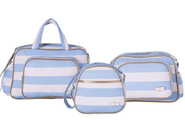 Bolsa Maternidade Bebê Kit 3 Peças com Frasqueira Térmica Listras Azul e Branco