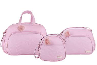 Bolsa Maternidade Bebê Kit 3 Peças com Frasqueira Térmica Sonho Rosa