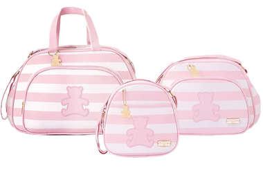 Bolsa Maternidade Bebê Kit 3 Peças com Frasqueira Térmica Ursinho Rosa