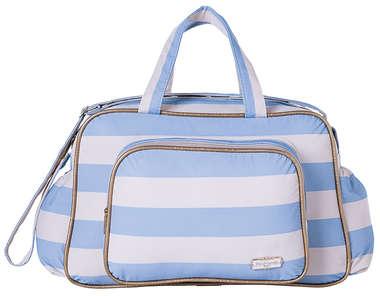 Bolsa Maternidade Bebê Listras Azul e Branco Grande