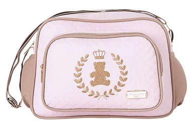 Bolsa Maternidade Bebê Ursinha Realeza Rosa Pequena