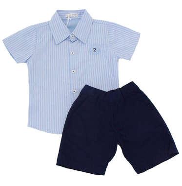 Conjunto Bebê Menino Camisa e Bermuda Listras Azul