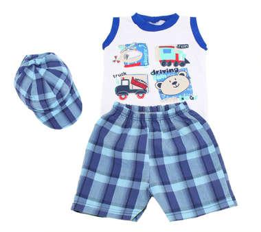 Conjunto Bebê Menino Body Bermuda e Boné Xadrez Azul