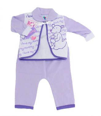 Conjunto Body e Calça Bebê Canguru Lilás