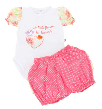 Conjunto Body e Short  Bebê Menina Little Flower Rosa