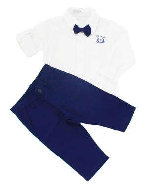 Conjunto Bebê Menino Batizado Branco e Azul 3 Peças