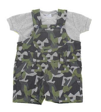 Jardineira Bebê Menino Camuflada com Camiseta Verde