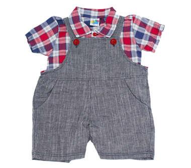 Jardineira Bebê Menino Com Camisa Xadrez Vermelha
