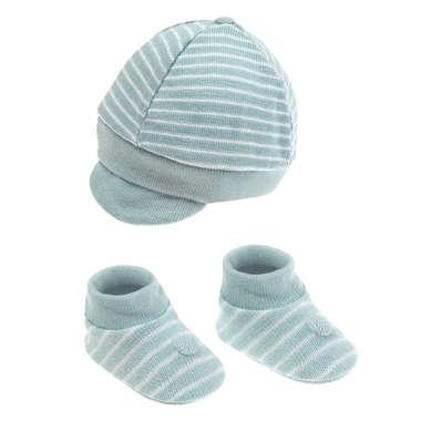 Kit Boné e Sapatinho Bebê Recém-Nascido Azul Bebê