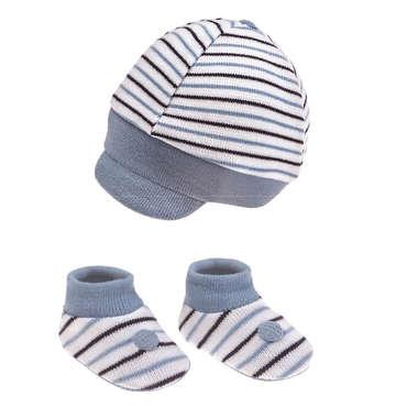 Kit Boné e Sapatinho Bebê Recém-Nascido Listras