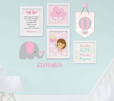 Kit Quadro Infantil Flâmula e Placa MDF Menina Elefante Balão 7 peças