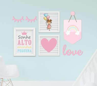 Kit Quadro Infantil Menina Flâmula Cílios e Palavra Decorativa Sonhe Alto Arco-íris