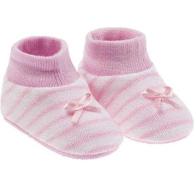 Kit Sapatinho Bebê Recém-Nascido Branco Listras Rosa