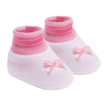 Kit Sapatinho Bebê Recém-Nascido Branco e Rosa