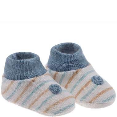 Kit Sapatinho Bebê Recém-Nascido Listras Bege