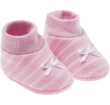 Kit Sapatinho Bebê Recém-Nascido Rosa Listra Branca