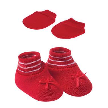 Kit Sapatinho e Luva Bebê  Recém-Nascido Vermelho