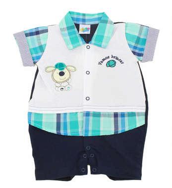 Macacão Curto Bebê Menino Cachorrinho Xadrez Azul