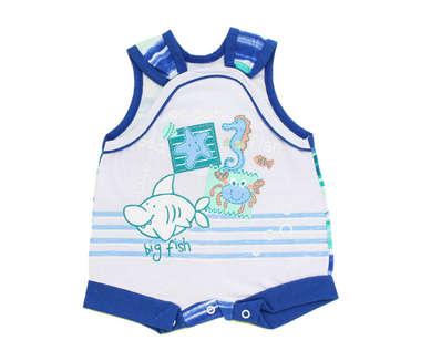 Macacão Curto Bebê Menino Sea Branco e Azul