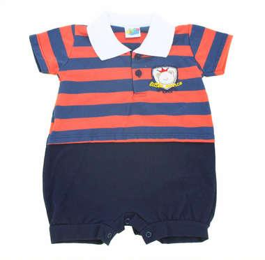 Macacão Curto Bebê Menino Camisa Polo Listras Vermelho