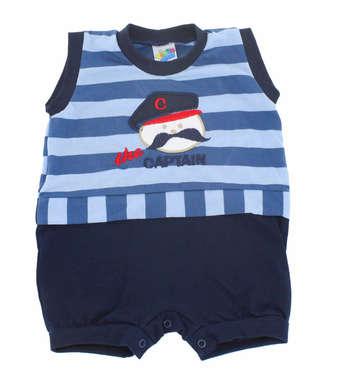 Macacão Curto Bebê Menino Listras Azul