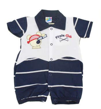 Macacão Curto Bebê Menino Ursinho Pirata Azul