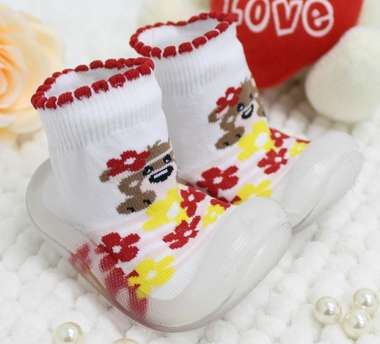 Meia Bebê Com Sola Ursinha Branca E Vermelha