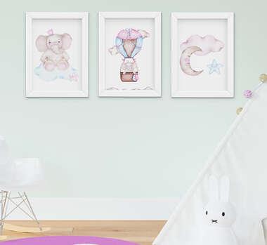 Quadro Bebê Infantil Menina Elefante Nuvem Balão Aquarela Kit 3 Peças