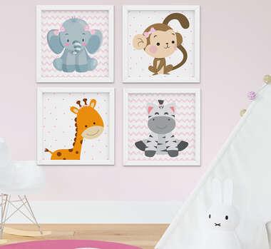 Quadro Bebê Infantil Menina Safari Kit 4 Peças