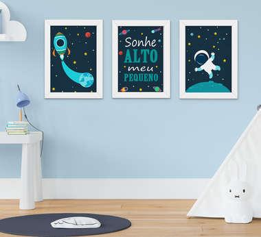 Quadro Bebê Infantil Menino Astronauta Sonhe Alto Kit 3 Peças