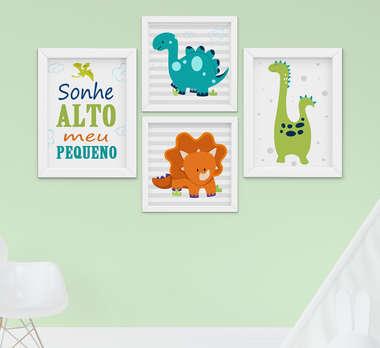 Quadro Bebê Infantil Menino Dinossauro Sonhe Alto Kit 4 Peças