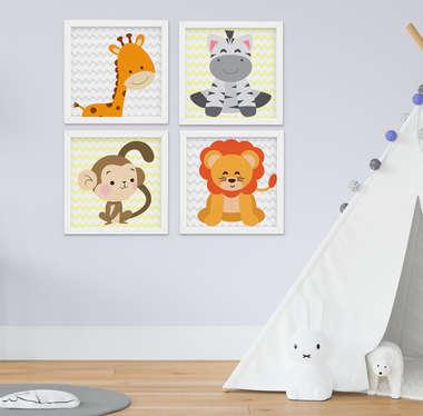Quadro Bebê Infantil Menino Menina Safari Kit 4 Peças