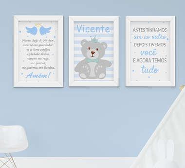 Quadro Bebê Infantil Menino Ursinho Nome Frase 3 Peças