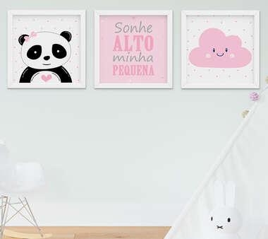 Quadro Bebê Menina Panda Elefante Nuvem Kit 3 Peças