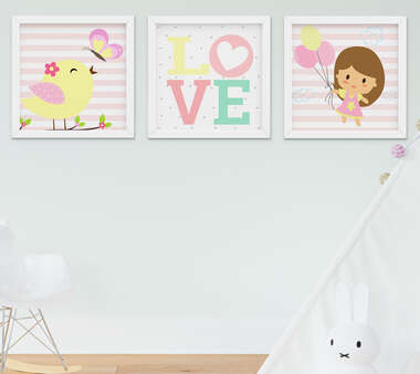 Quadro Decorativo Infantil Bebê Menina Passarinho Kit 3 Peças