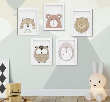 Quadro Decorativo Infantil Escandinavo Urso Leão Tigre Porco Espinho Kit 5 Peças