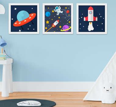 Quadro Infantil Astronauta Nave Kit 3 Peças
