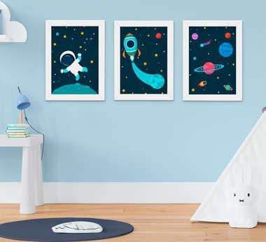 Quadro Infantil Quarto Bebê Menino Astronauta Planetas Kit 3 Peças