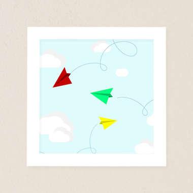 Quadro Infantil Avião Papel