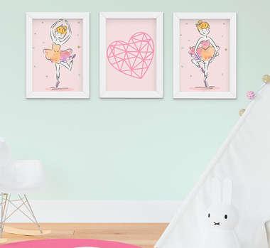 Quadro Decorativo Infantil Menina Bailarina Kit 3 Peças