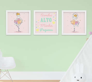 Quadrinho Infantil Bebê Menina Bailarina Sonhe Alto Kit 3 Peças