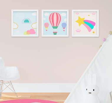 Quadro Infantil Bebê Menina Balão Nuvem Estrela Kit 3 Peças