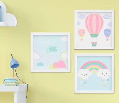Quadro Infantil Balão e Arco-Íris Kit 3 Peças
