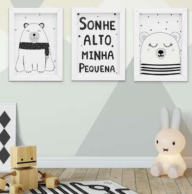 Quadro Infantil Bebê Escandinavo Ursos Sonhe Alto Kit 3 Peças