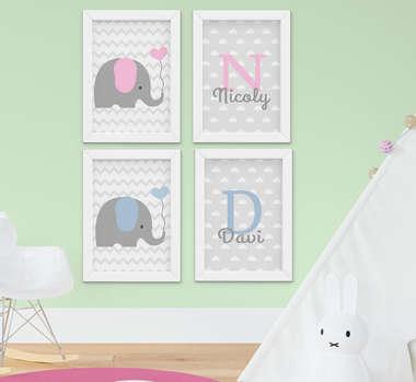 Quadro Infantil Bebê Irmãos Elefantinho Personalizado Kit 4 Peças