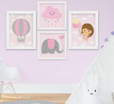Quadro Infantil Bebê Menina Elefante Nuvem Balão Kit 4 Peças