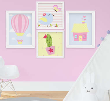Quadro Infantil Bebê Menina Passarinho Casinha Balão Kit 4 Peças
