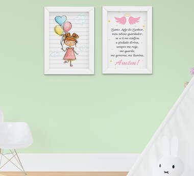 Quadro Infantil Bebê Menina Santo Anjo Kit 2 Peças