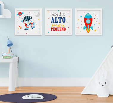 Quadro Infantil Bebê Menino Astronauta Foguete Sonhe Alto Kit 3 Peças