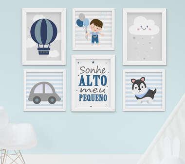 Quadro Infantil Bebê Menino Balão Nuvem Carrinho Kit 6 Peças